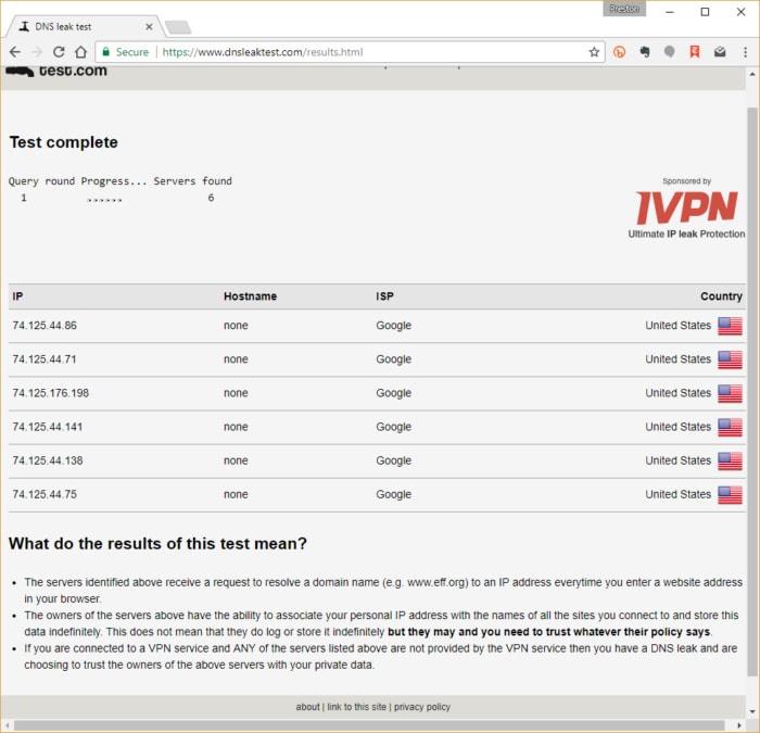 teste de vazamento de DNS