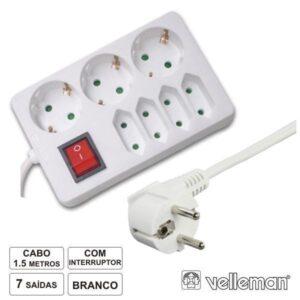 Tomada eléctrica com 7 saídas e interruptor 1