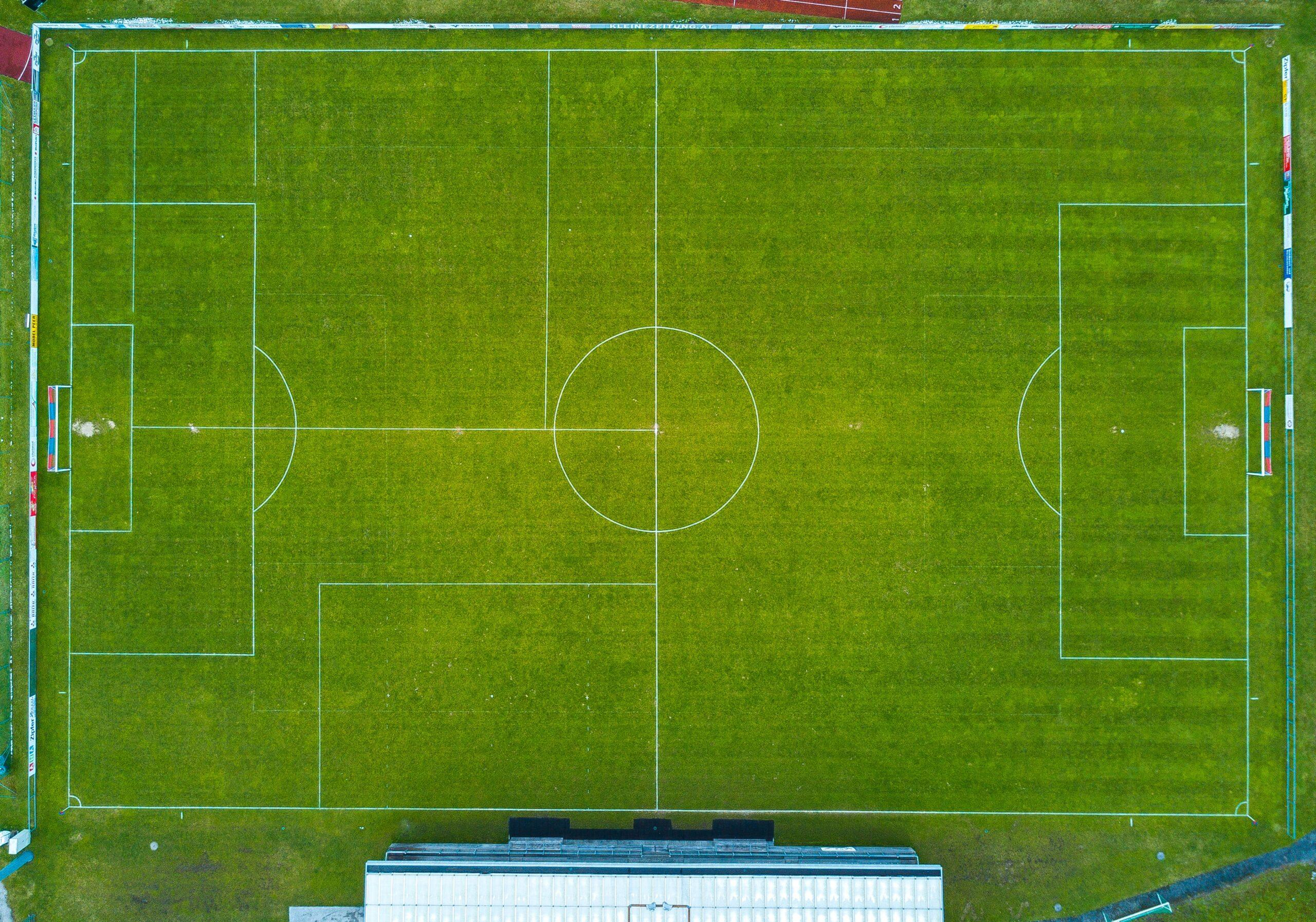 aerial photo of soccer field