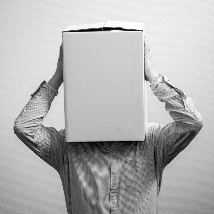man holding box